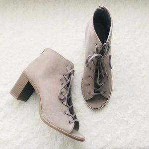 Old Navy Suede Lace Up Peep Toe Booties Taupe 8